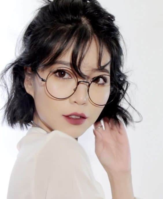 Long Korean bangs with fringes and glasses