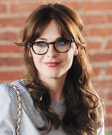 Long side-swept bangs and glasses