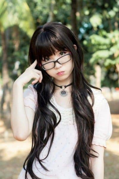 Long bangs with glasses Asian Korean