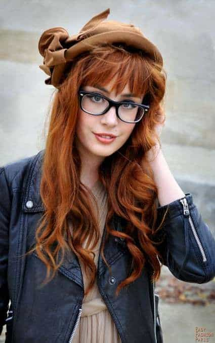 Hairstyle for bangs with glasses red hair
