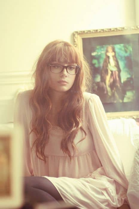 long wavy hair with fringes and glasses
