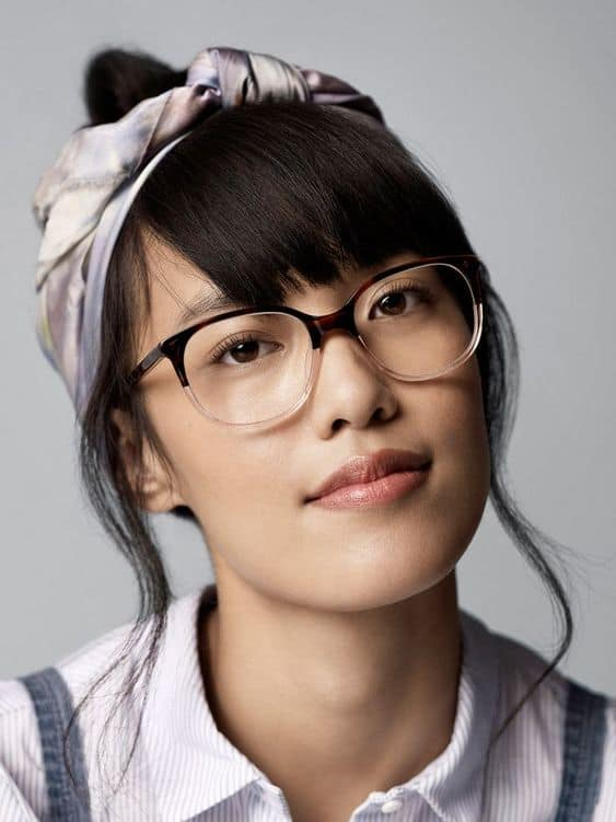 Bangs and glasses are also a great combination for Asian women