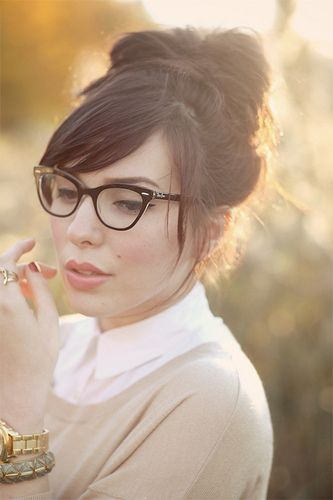 Side swept bangs with glasses inspiration