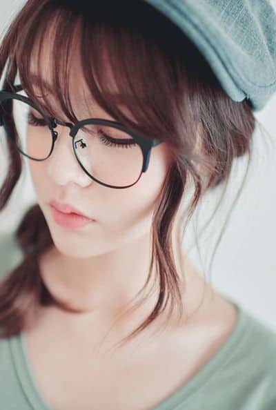 Korean bangs with glasses