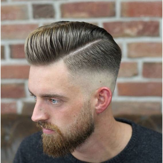 Side-Parted Pompadour with Low Fade