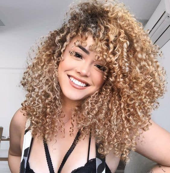 Full Curls With Curly Bangs
