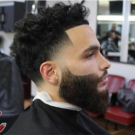 Low Mid Fade + long Curly Hair + Beard + Line Up