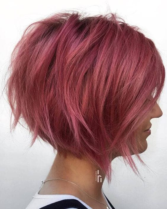 Pink hairstyle with bob style