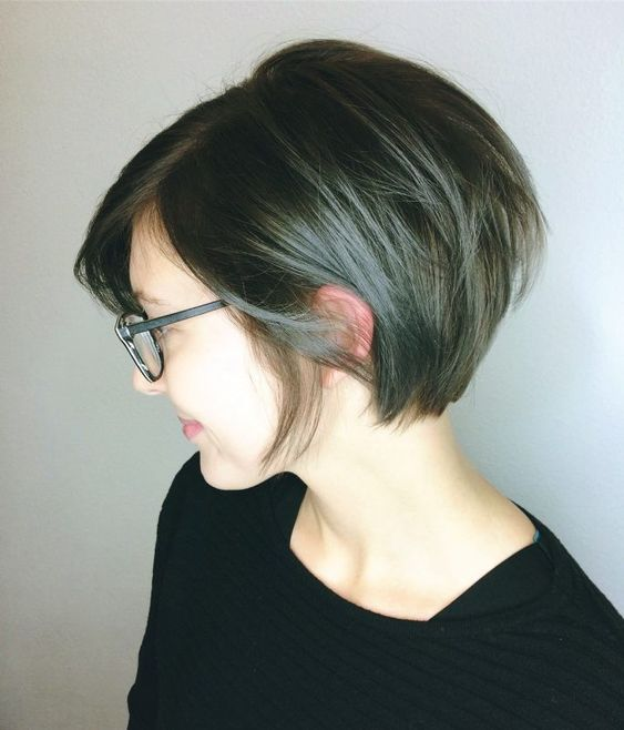 girl bob hairstyle with glasses